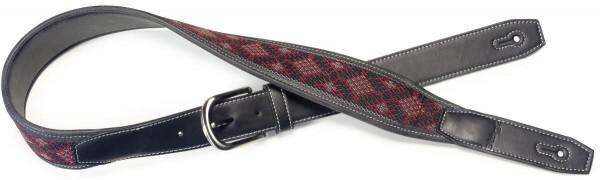 Stagg SFLW-DIA RED Schwarz Leder-Imitat Gitarrengurt mit gewebten Karos in Schwarz und Rot