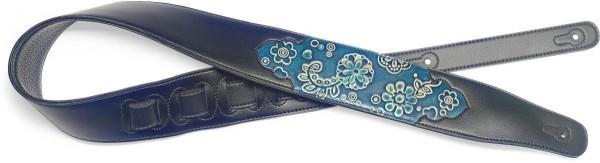 Stagg SPFL PSLY 1 BLU Schwarz gepolsterter Gitarrengurt aus Kunstleder mit geprägtem Paisleymuster i
