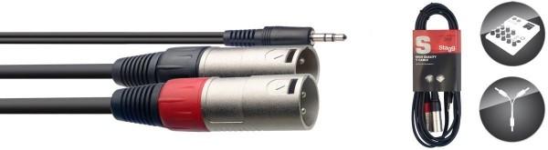 Stagg SYC3/MPS2XM Y-Kabel, Mini-Klinke/XLR (m/m), 3 m