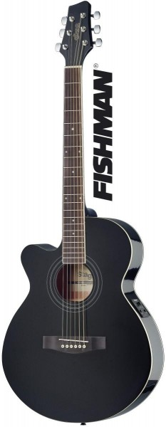 Stagg SA40MJCFI-LH BK Mini-Jumbo, elektro-akustische Konzertgitarre m. FISHMAN Preamp