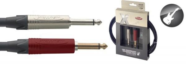 Stagg XGC3SW Klinke/Klinke m/m Standard-Instrumentenkabel mit Silent-Schalter X-Serie 3 m