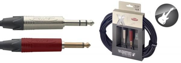 Stagg XGC10SW Klinke/Klinke m/m Standard-Instrumentenkabel mit Silent-Schalter X-Serie 10 m