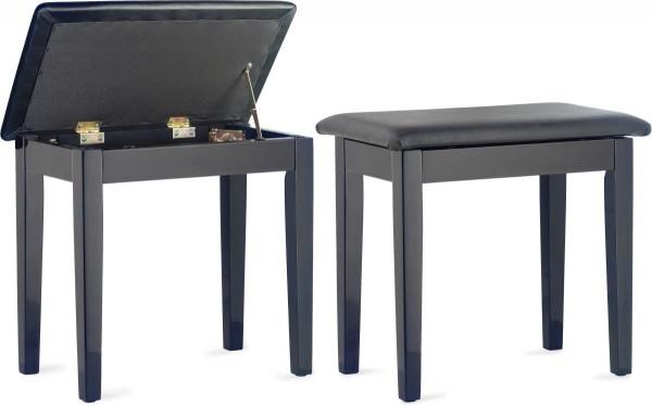 Klavierbank mit Notenfach in Schwarz poliert mit schwarzem Stoffbezug
