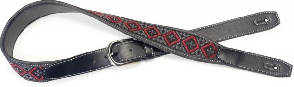 Stagg SFLW-SQ RED Schwarz Leder-Imitat Gitarrengurt gewebtes Quadrat-Muster in Schwarz und Rot