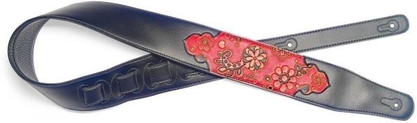 Stagg SPFL PSLY 1 RED Schwarz gepolsterter Gitarrengurt aus Kunstleder mit geprägtem Paisleymuster i