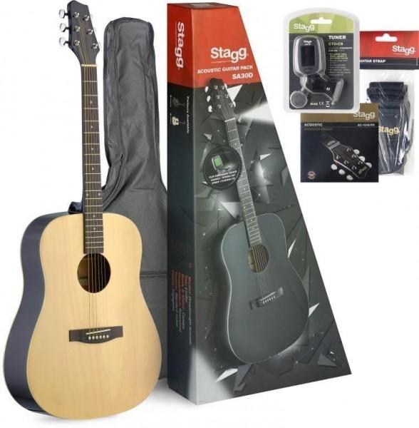 Stagg SA30D-N PACK Akustik-Gitarren Pack, + Zubehör u. Einsteiger-Gitarrenunterricht