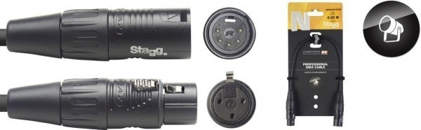 Stagg DMX Konverter Kabel NDX025R-3F5M XLR/XLR m/f 5/3 Pins N-Serie 0,25 m