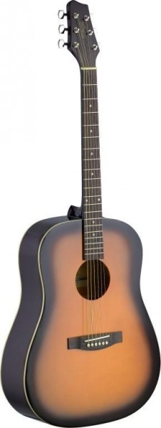 Stagg SA30D-BS Dreadnought, akustische Gitarre m. Lindendecke