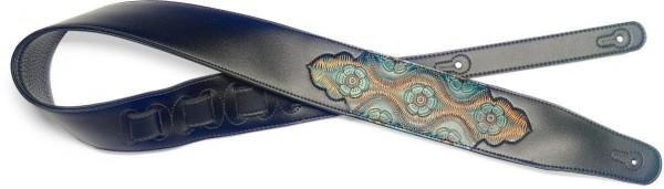 Stagg SPFL PSLY 2 BLU Schwarz gepolsterter Gitarrengurt aus Kunstleder mit geprägten Paisley 2 Muste