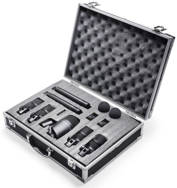 Stagg DMS-5700H Schlagzeug Mikrofon Set mit 7 Mikrofonen und 2 Klammern