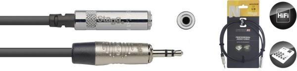 Stagg NAC1MPSMJSR N-Serie Audio Kabel - Stereo Mini Phono-Stecker / Stereo Mini Buchse
