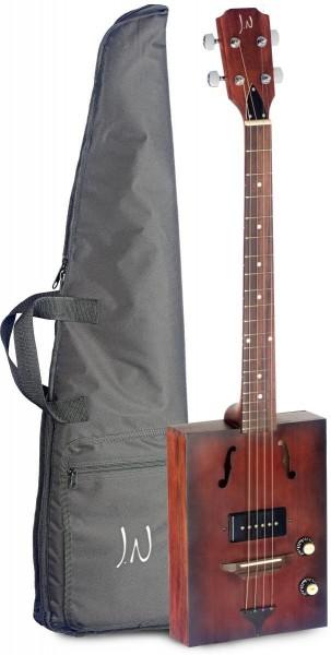 James Nelligan CASK-HOGSHEAD Elektro-Akustik Zigarrenkisten-Gitarre mit 4 Saiten, massive Decke aus