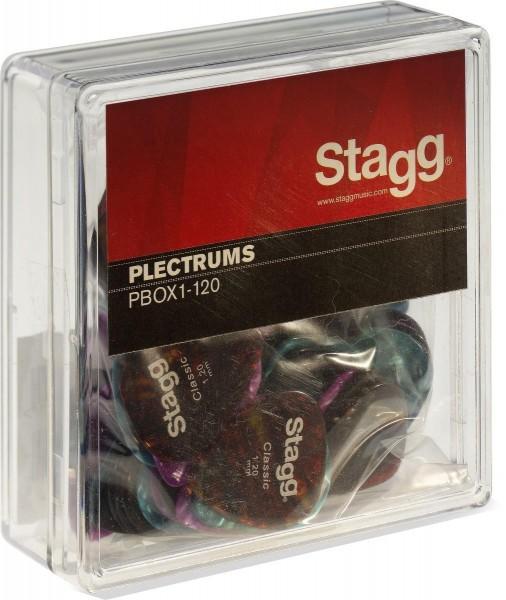 Stagg PBOX1-120 100 Stück Display-Box mit Zelluloid Standard-Plektren verschiedene Farben 1.20 mm