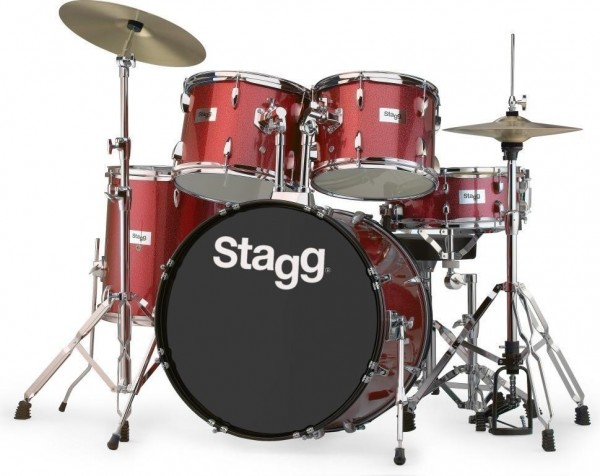 """Stagg TIM322B SPRD 5-teiliges, 22"""" Standard Linden Schlagzeug m. Hardware u. Becken"""