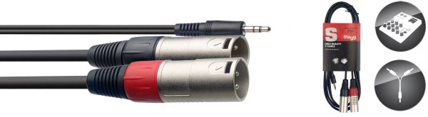 Stagg SYC2/MPS2XM Y-Kabel, Mini-Klinke/XLR (m/m), 2 m