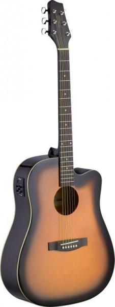 Stagg SA30DCE-BS Elektro-akustische Dreadnought Gitarre mit Lindendecke u. CL-4 B-Band