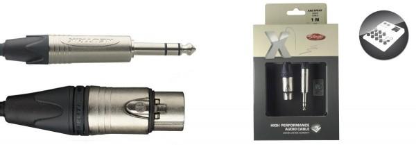Stagg XAC1PSXF Audio-Kabel, XLR/Klinke (f/m), 1 m, symmetrisch, X-Serie