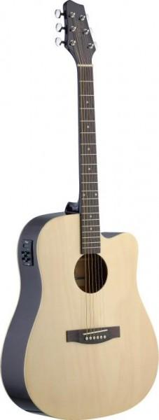 Stagg SA30DCE-N Elektro-akustische Dreadnought Gitarre mit Lindendecke u