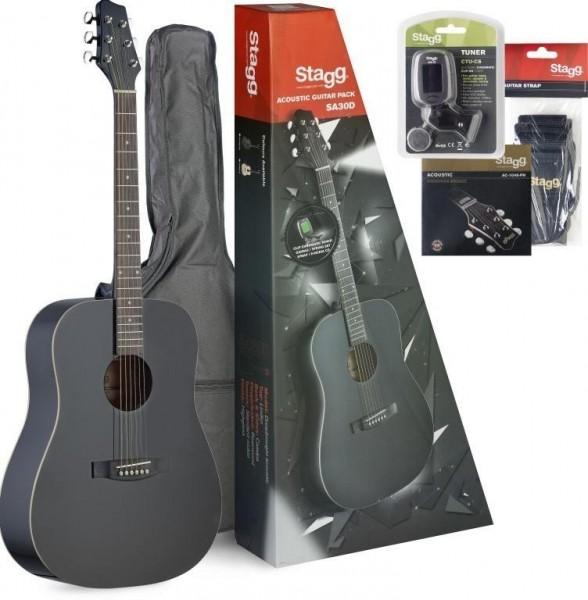 Stagg SA30D-BK PACK Akustik-Gitarren Pack, + Zubehör u. Einsteiger-Gitarrenunterricht