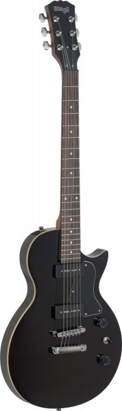 "Stagg SEL-P90BK Rock ""L"" Serie P90 E-Gitarre mit massivem Erlenkorpus"