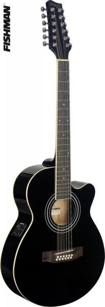 Stagg SA40MJCFI/12-BK Mini-Jumbo, elektro-akustische Konzertgitarre m. FISHMAN Preamp