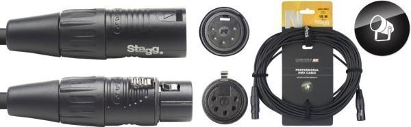 Stagg DMX-Kabel NDX15R-5 XLR/XLR m/f 5 Pins N-Serie 15 m