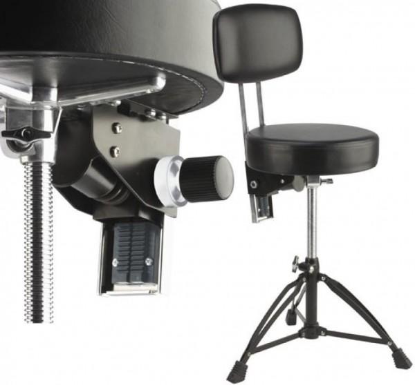 Stagg DT-280R BK Professioneller doppelstrebiger Drumhocker mit Rückenlehne