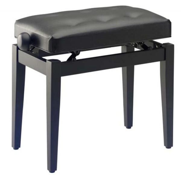 Stagg PB43 BK M S/BK Klavierbank in Schwarz matt mit schwarzem abgesteppten Kunstlederbezug, Modell