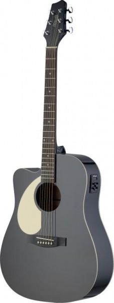 Stagg SA30DCE-BK LH Elektro-akustische Dreadnought Gitarre mit Lindendecke u. CL-4 B-Band