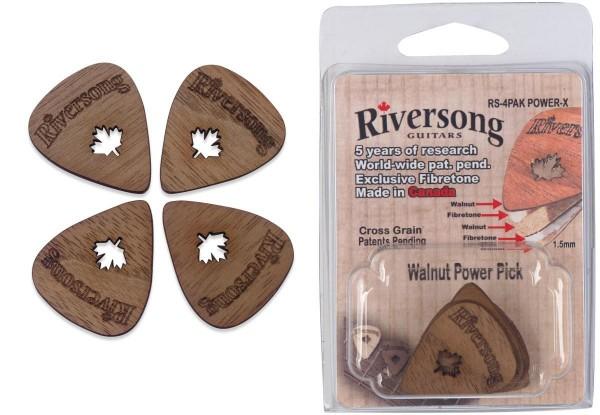 Riversong RS-4PAK POWER X Packung mit 4 Riversong Power 2 mm Walnuss und Fibretone Plektren