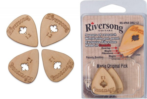 Riversong RS-4PAK ORG 1.2 Packung mit 4 Riversong Original 1.2 mm Ahorn und Fibretone Plektren