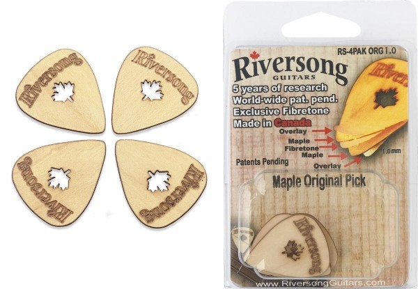 Riversong RS-4PAK ORG 1.0 Packung mit 4 Riversong Original 1 mm Ahorn und Fibretone Plektren