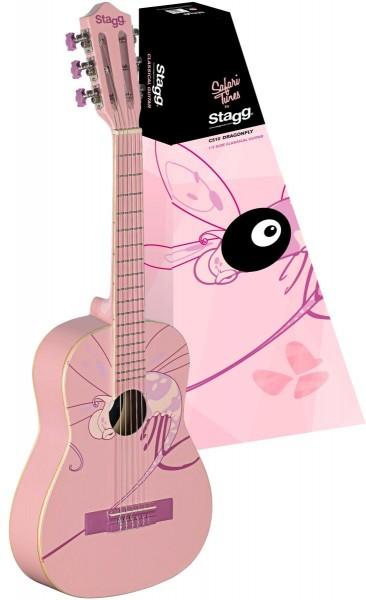 Stagg C505 DRAGONFLY 1/4 Klassik-Gitarre in pink mit Lindendecke