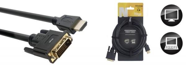 Stagg NVC3HAMDVIDM N-Serie HDMI 1.4 an DVI Dual Link Kabel