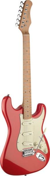 Stagg SES50M-FRD E-Gitarre mit massivem Erlenkorpus Fiesta Rot