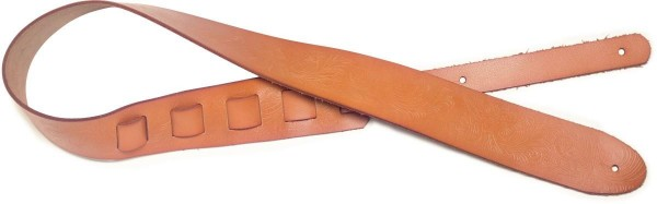 Stagg SLHP-PSLY-BRW Braun Leder Gitarrengurt mit geprägtem Paisley-Muster