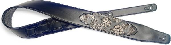 Stagg SPFL PSLY 1 BK Schwarz gepolstert Lederimitat Gitarrengurt mit geprägtem Paisley-Muster