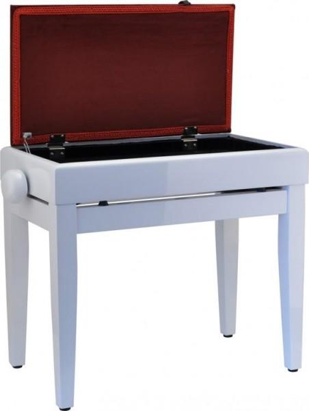 B-Ware Steinbach Klavierbank mit Notenfach in Weiß poliert weinroter Stoff