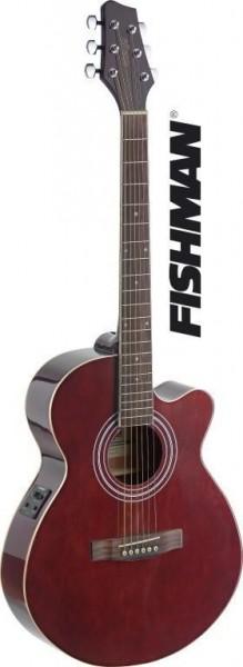Stagg SA40MJCFI-TR Mini-Jumbo, elektro-akustische Konzertgitarre m. FISHMAN Preamp