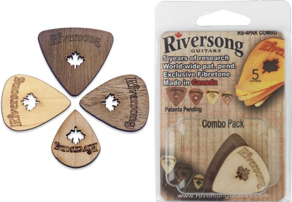 Riversong RS-4PAK COMBO Packung aus 4 Riversong Plektren