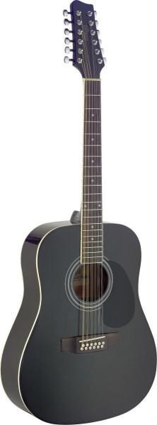 Stagg SA40D/12-BK Dreadnought, akustische Gitarre m. Fichtendecke