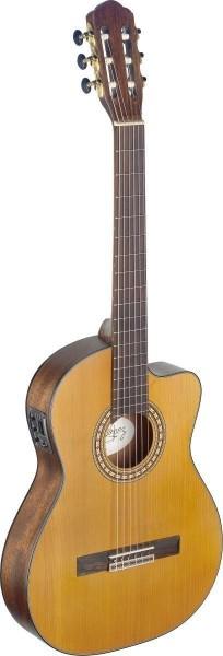 Angel Lopez SIL-TCE M Silvera Serie 4/4 Cutaway eingebauter Preamp klassische Gitarre dünner Korpus