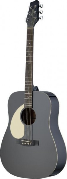 Stagg SA30D-BK LH Dreadnought, akustische Gitarre m. Lindendecke, linkshändig Modell