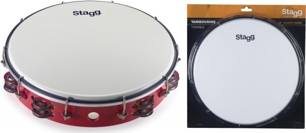 Stagg TAB-212P/RD 12 Zoll stimmbares Kunststoff Tambourin