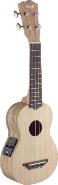Stagg USX-SPA-SE Traditionelle elektro-akustische Sopran-Ukulele mit massiver Fichtendecke