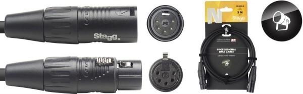 Stagg DMX-Kabel NDX3R-5 XLR/XLR m/f 5 Pins N-Serie 3 m