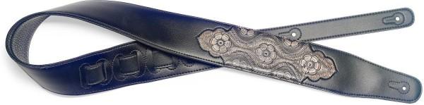 Stagg SPFL PSLY 2 BK Schwarz gepolsterter Gitarrengurt aus Kunstleder mit geprägtem Paisleymuster in