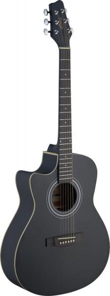 Stagg SA30ACE-BK LH Elektro-akustische Auditorium Gitarre Cutaway mit Lindendecke u