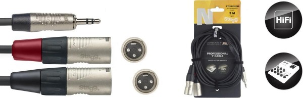 Stagg NYC3/MPS2XMR N-Serie Y-Kabel - Stereo Mini-Klinkenstecker / 2 x