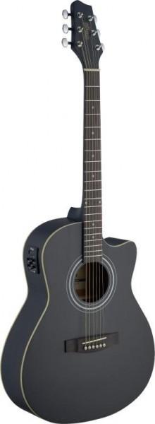 Stagg SA30ACE-BK Elektro-akustische Auditorium Gitarre Cutaway mit Lindendecke u